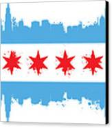 White Chicago Flag Canvas Print by Mike Maher