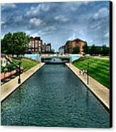 White River Park Canal In Indy Canvas Print by Julie Dant