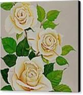 White Roses - Vertical Canvas Print by Carol Sabo
