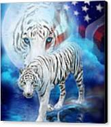 White Tiger Moon - Patriotic Canvas Print by Carol Cavalaris