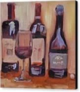 Wine Bottle Trio Canvas Print by Donna Tuten