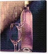 Wine Bottle With Glasses Canvas Print by Tom Mc Nemar