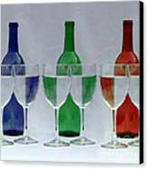 Wine Bottles And Glasses Illusion Canvas Print by Jack Schultz