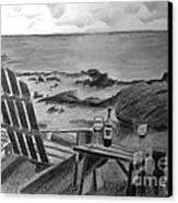 Wine By The Sea Canvas Print by Nancy McNamer