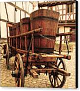 Wine Cart In Alsace France Canvas Print by Greg Matchick
