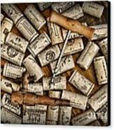 Wine Corks On A Wooden Barrel Canvas Print by Paul Ward