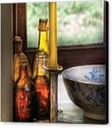 Wine - Nestled In A Corner Of A Window Sill  Canvas Print by Mike Savad