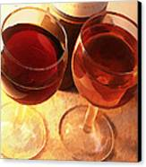 Wine Toast In Watercolor Canvas Print by Elaine Plesser