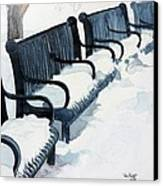 Winter Benches Canvas Print by Tom Riggs