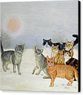 Winter Cats Canvas Print by Ditz