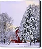 Winter Farm Scene Canvas Print by Timothy Flanigan