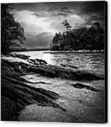 Winter Moonlight Wolfes Neck Woods Maine Canvas Print by Bob Orsillo