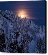 Winter Mountain Moonrise Canvas Print by Mike Reid