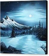 Winter Painting A La Bob Ross Canvas Print by Bruno Santoro