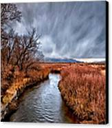 Winter Storm Over Owens River Canvas Print by Cat Connor