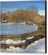 Wintery Afternoon At Bathsheba Terrace Canvas Print by Muriel Levison Goodwin