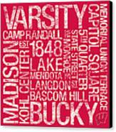 Wisconsin College Colors Subway Art Canvas Print by Replay Photos