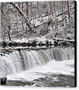 Wissahickon Waterfall In Winter Canvas Print by Bill Cannon
