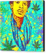 Wiz Khalifa Drawing In Line Canvas Print by Pierre Louis