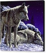 Wolf Painting - Night Watch Canvas Print by Crista Forest
