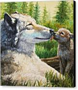 Wolf Painting - Spring Kisses Canvas Print by Crista Forest