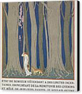 Woman Followed By A Leopard Canvas Print by Georges Barbier