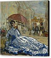 Woman In A Blue Dress Under A Parasol Canvas Print by Eugene Louis Boudin