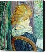 Woman Sitting In A Garden Canvas Print by Henri de Toulouse-lautrec