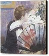 Woman Smelling Flowers Canvas Print by Jean-Louis Forain