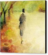 Woman Walking Autumn Landscape Watercolor Painting Canvas Print by Beverly Brown Prints