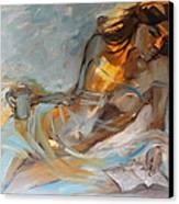 Woman With Book Canvas Print by Nelya Shenklyarska