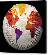 World Map - Rainbow Bliss Baseball Square Canvas Print by Andee Design