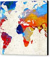 World Map 18 - Colorful Art By Sharon Cummings Canvas Print by Sharon Cummings