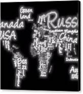 World Map In Text Neon Light Canvas Print by Dan Sproul