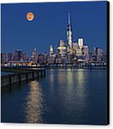 World Trade Center Super Moon Canvas Print by Susan Candelario