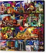 World Travel Book Shelf Canvas Print by Aimee Stewart