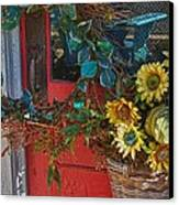 Wreath And The Red Door Canvas Print by Michael Thomas