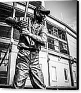 Wrigley Field Ernie Banks Statue In Black And White Canvas Print by Paul Velgos