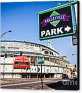 Wrigleyville Sign And Wrigley Field In Chicago Canvas Print by Paul Velgos