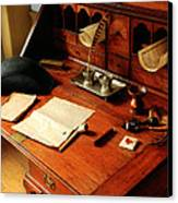 Writer - The Desk Of A Gentleman  Canvas Print by Mike Savad