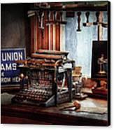 Writer - Typewriter - The Aspiring Writer Canvas Print by Mike Savad