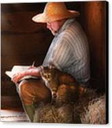 Writer - Writing In My Journal Canvas Print by Mike Savad
