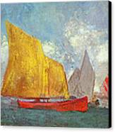 Yachts In A Bay Canvas Print by Odilon Redon
