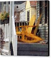 Yellow Adirondack Rocking Chairs Canvas Print by Susan Savad