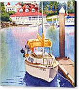 Yellow Sailboat And Coronado Boathouse Canvas Print by Mary Helmreich