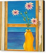 Yellow Vase With Sea View Canvas Print by Pamela Allegretto