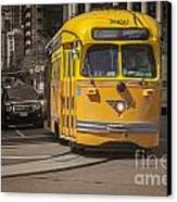 Yellow Vintage Streetcar San Francisco Canvas Print by Colin and Linda McKie