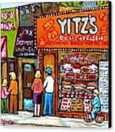 Yitzs Deli Toronto Restaurants Cafe Scenes Paintings Of Toronto Landmark City Scenes Carole Spandau  Canvas Print by Carole Spandau