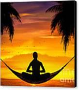 Yoga At Sunset Canvas Print by Bedros Awak