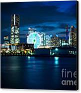 Yokohama Minatomirai At Night Canvas Print by Beverly Claire Kaiya
